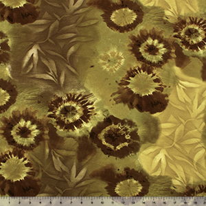Gold Olive Sunflower Leaf Tie Dye Cotton Spandex Knit Fabric