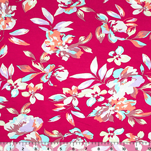 Pastel Floral on Dark Fuchsia Jersey Spandex Blend Knit Fabric