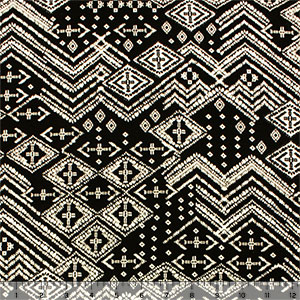 Batik Diamonds on Black Cotton Spandex Knit Fabric