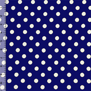 Slightly Flawed Ivory Dots on Royal Double Brushed Jersey Spandex Blend Knit Fabric