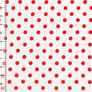 Red Dots on Ivory Double Brushed Jersey Spandex Blend Knit Fabric