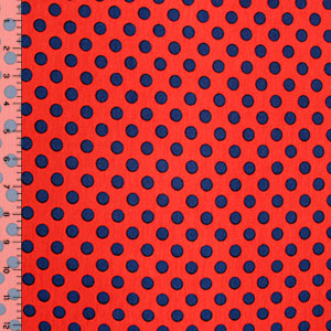Navy Blue Dots on Red Cotton Spandex Blend Knit Fabric