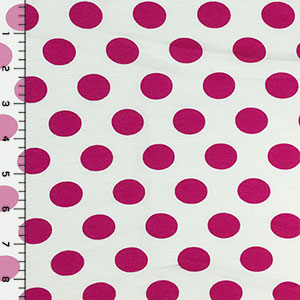 Fuchsia Dots on White Cotton Spandex Blend Knit Fabric