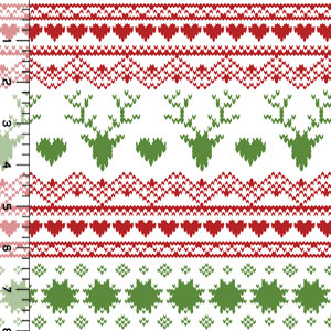Original Red Green Fair Isle Deer Heart Cotton Spandex Knit Fabric