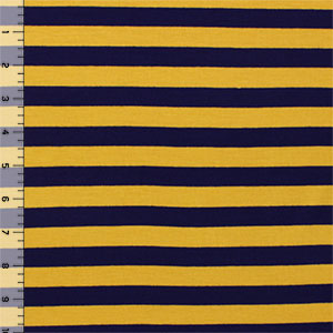 Navy Blue Gold Stripe Cotton Spandex Blend Knit Fabric