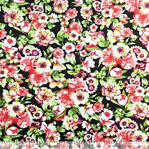 Coral Orange Mustard Violet Floral on Black Cotton Spandex Blend Knit Fabric