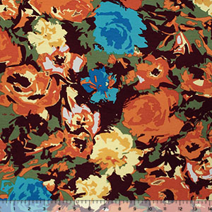 Autumnal Floral on Olive Cotton Jersey Spandex Blend Knit Fabric