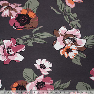 Half Yard Big Mauve Olive Floral on Charcoal Cotton Jersey Spandex Blend Knit Fabric