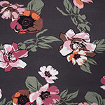 Big Mauve Olive Floral on Charcoal Cotton Jersey Spandex Blend Knit Fabric