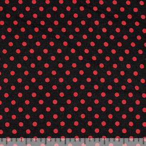 Red Small Dot on Black Cotton Jersey Spandex Blend Knit Fabric