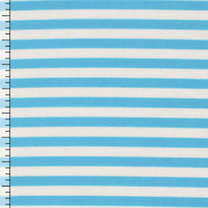 Turquoise Ivory Stripe Cotton Jersey Spandex Blend Knit Fabric