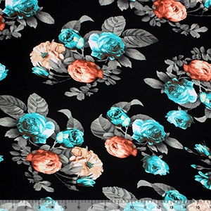 Teal Coral Roses on Black Cotton Jersey Spandex Blend Knit Fabric