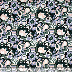 Half Yard Hunter Sage Mod Floral Cotton Jersey Spandex Blend Knit Fabric