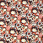 Rust Cocoa Mod Floral Cotton Jersey Spandex Blend Knit Fabric