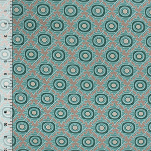 Teal Green Toffee Mod Circle Tiles Cotton Jersey Spandex Blend Knit Fabric