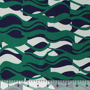 Green Blue Mod Waves Cotton Jersey Spandex Blend Knit Fabric