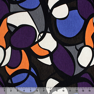 Purple Blue Mod Pucci Cotton Jersey Spandex Blend Knit Fabric