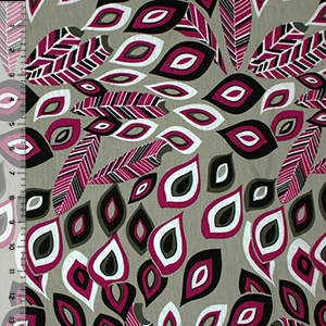 Magenta Black Mod Peacock Feathers Cotton Jersey Spandex Blend Knit Fabric