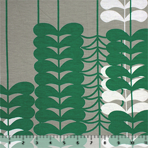 Green White Mod Leaf Vines Cotton Jersey Spandex Blend Knit Fabric