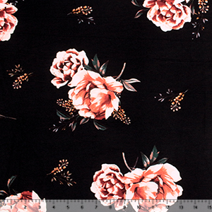 Coral Floral & Baby\'s Breath on Black Double Brushed Jersey Spandex Blend Knit Fabric