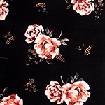 Coral Floral & Baby's Breath on Black Double Brushed Jersey Spandex Blend Knit Fabric