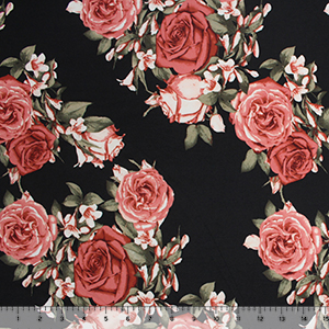Mauve Antique Roses on Black Double Brushed Jersey Spandex Blend Knit Fabric