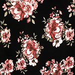 Painted Rose Floral on Black Double Brushed Jersey Spandex Blend Knit Fabric