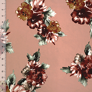 Gold Maroon Painted Floral on Blush Double Brushed Jersey Spandex Blend Knit Fabric