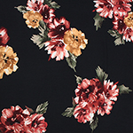 Gold Maroon Painted Floral on Black Double Brushed Jersey Spandex Blend Knit Fabric