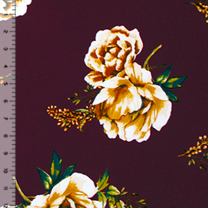 Mustard Floral & Baby\'s Breath on Merlot Double Brushed Jersey Spandex Blend Knit Fabric