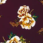 Mustard Floral & Baby's Breath on Merlot Double Brushed Jersey Spandex Blend Knit Fabric