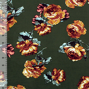 Caramel Rose Bud Bouquets on Moss Double Brushed Jersey Spandex Blend Knit Fabric