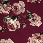Taupe Rose Bud Bouquets on Maroon Double Brushed Jersey Spandex Blend Knit Fabric