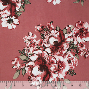 Painted Rose Floral on Deep Mauve Double Brushed Jersey Spandex Blend Knit Fabric