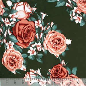Clay Antique Roses on Moss Double Brushed Jersey Spandex Blend Knit Fabric