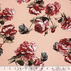 Brick Rose Bud Bouquets on Blush Double Brushed Jersey Spandex Blend Knit Fabric
