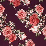 Pink Antique Roses on Wine Double Brushed Jersey Spandex Blend Knit Fabric