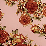 Rust Antique Roses on Mauve Double Brushed Jersey Spandex Blend Knit Fabric