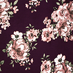 Painted Rose Floral on Burgundy Double Brushed Jersey Spandex Blend Knit Fabric