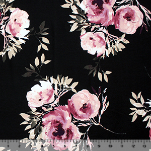 Purple Mauve Watercolor Floral on Black Double Brushed Jersey Spandex Blend Knit Fabric