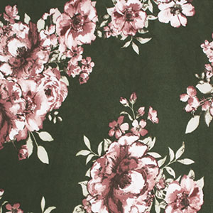 Painted Rose Floral on Moss Double Brushed Jersey Spandex Blend Knit Fabric