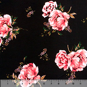 Half Yard Pink Floral & Baby\'s Breath on Black Double Brushed Jersey Spandex Blend Knit Fabric