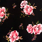 Pink Floral & Baby's Breath on Black Double Brushed Jersey Spandex Blend Knit Fabric