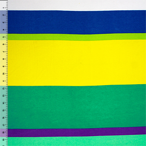 Blue Yellow Jade Big Variegated Stripe Cotton Spandex Blend Knit Fabric