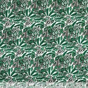 Kelly Green Small Peacock Feathers Cotton Jersey Spandex Blend Knit Fabric