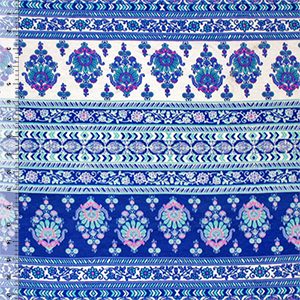 Blue Pink Boho Floral Rows Cotton Jersey Spandex Blend Knit Fabric