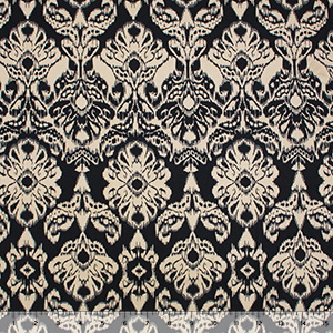Stone Black Damask Double Brushed Jersey Spandex Blend Knit Fabric