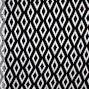 Black Gray Shaky Ikat Cotton Jersey Spandex Blend Knit Fabric