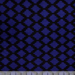 48e3bb93637 Royal Black Moroccan Tile Cotton Jersey Spandex Blend Knit Fabric -