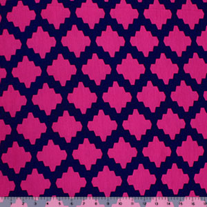 Fuchsia Navy Moroccan Tile Cotton Jersey Spandex Blend Knit Fabric